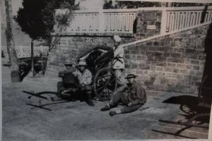 Rickshaw pullers resting. Chowrasta, Darjeeling during the British Raj
